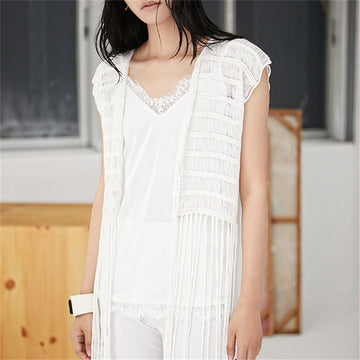 Hand made pure cotton thin knit women hollow out Vneck