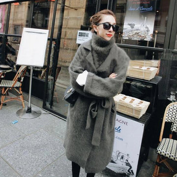 Knitted Mink Cashmere Cardigans Sweater with Vest Ladies Coat Outwear with Belt