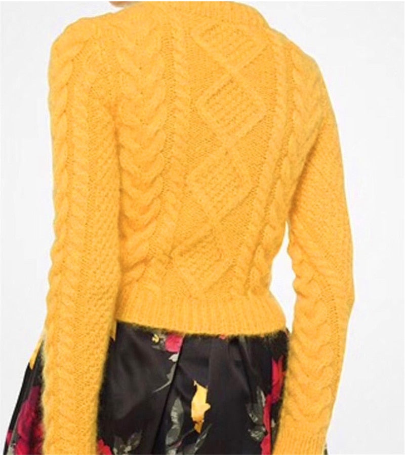 Goat cashmere twisted knit women add thicken pullover sweater
