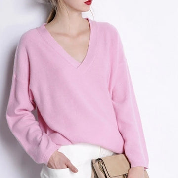 Goat cashmere v-neck knit loose pullover sweater pink