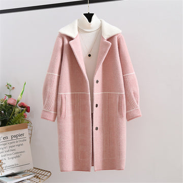 Sweater Mink Cashmere Long Cardigan Coat Winter Tops