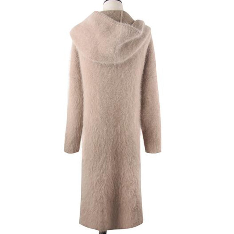 Mink Cashmere Coat Long Sweater Hoodie Cardigan coat Natural Soft Cashmere