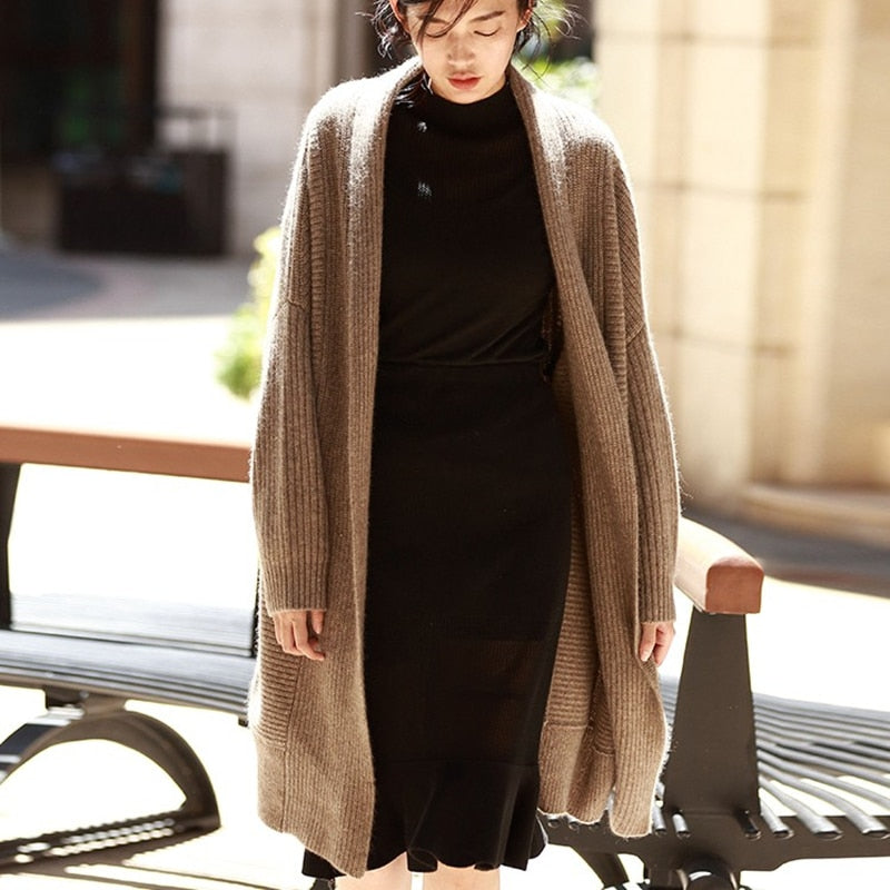 Cardigan Long Paragraph Lazy Loose Large Size Knitted Sweater