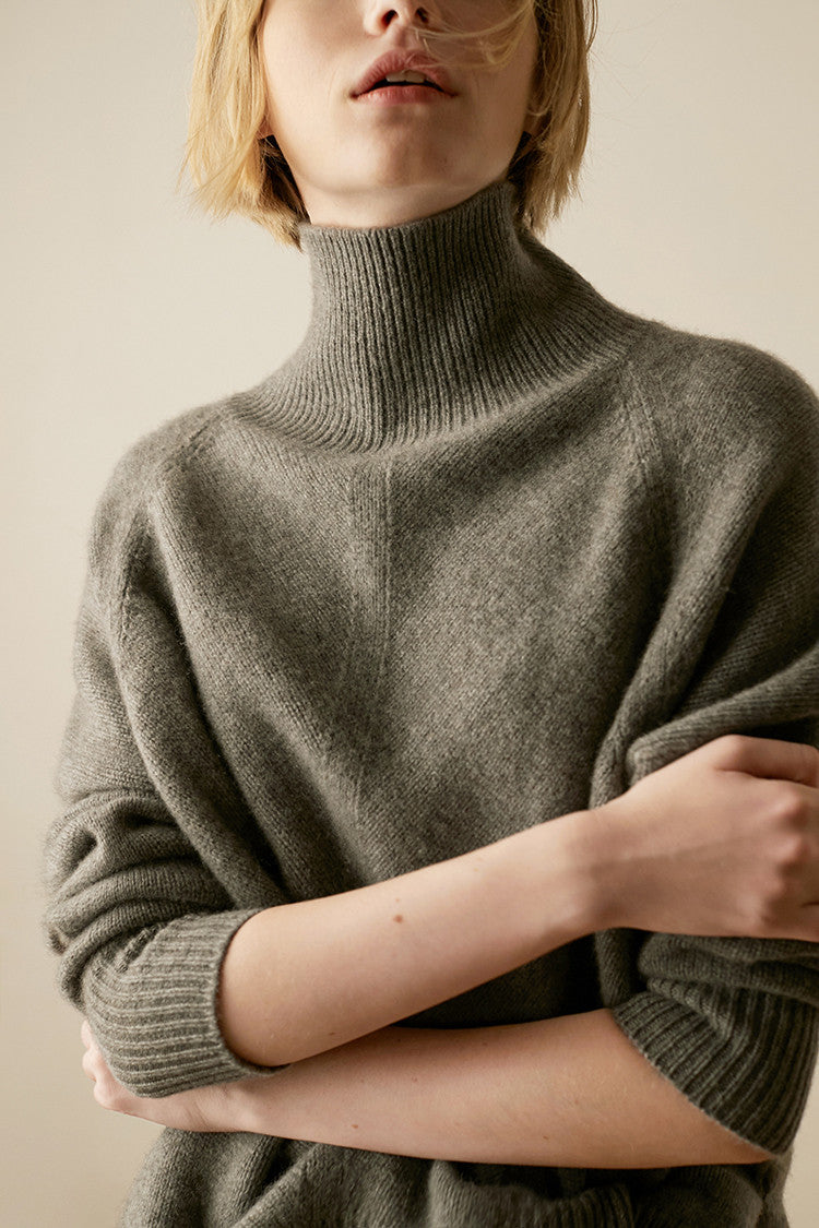 100% Cashmere Knit  Turtleneck Pullover Sweater