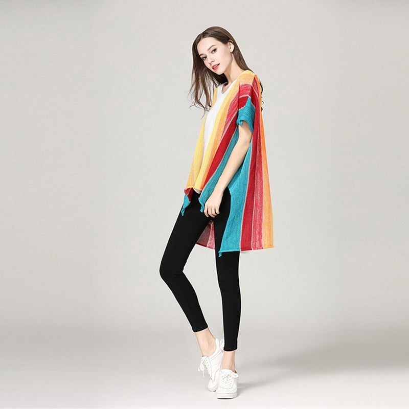 Rainbow Color Loose Pullovers Sweater Knitted Jumper