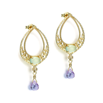 Gold Earrings Teardrop Diamond Drop Dangle Earring Ear Huggie Hoops