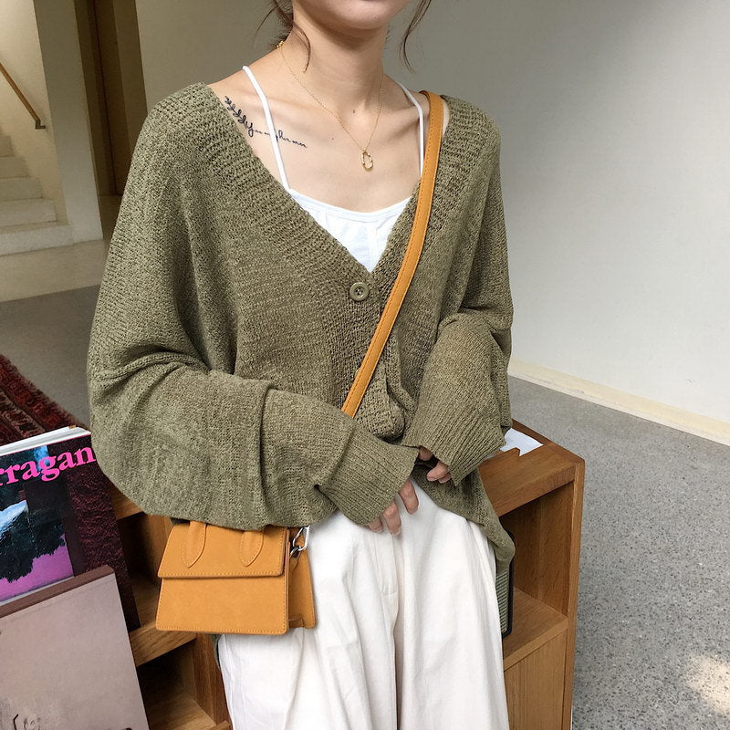 Oversize Single Breasted Long Sleeve Knitted Sweaters