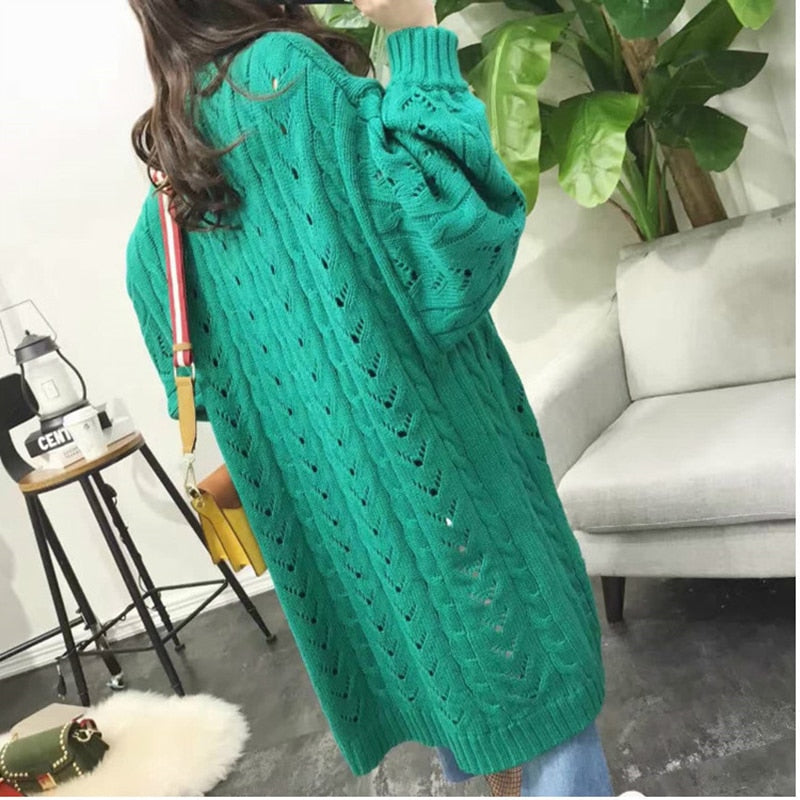 Long Cardigan Sleeve Trend Hollow Women's Knitted Sweater
