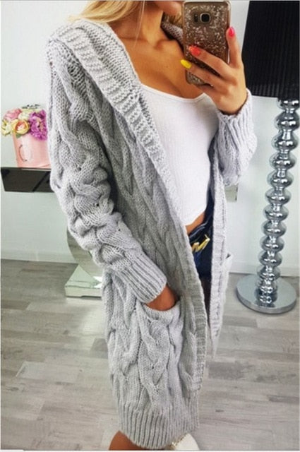 Elegant warm long sweater cardigan women Twist knitted winter sweater cardigan