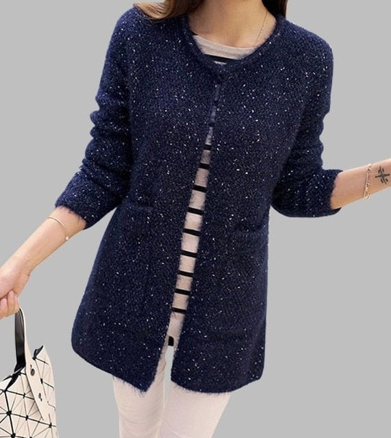 Casual Long Sleeve Knitted Cardigan Crochet Sweater