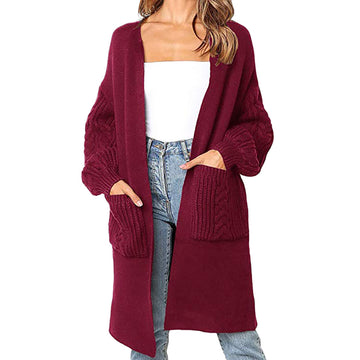 Sweater Winter Fashion Long Sleeve Pocket Loose Knitting Cardigan