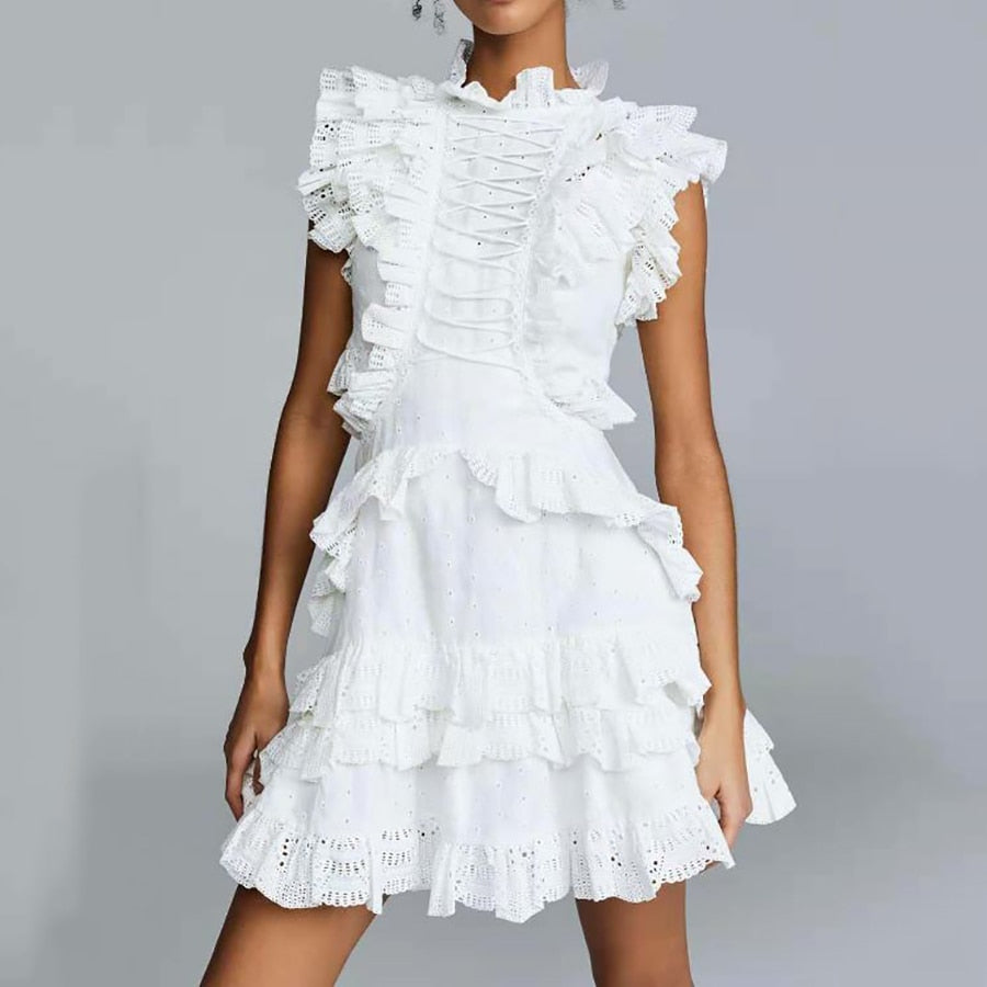 Elegant Ruffles White Sleeveless Cotton Dress A-line Slim Boho Chic Dress