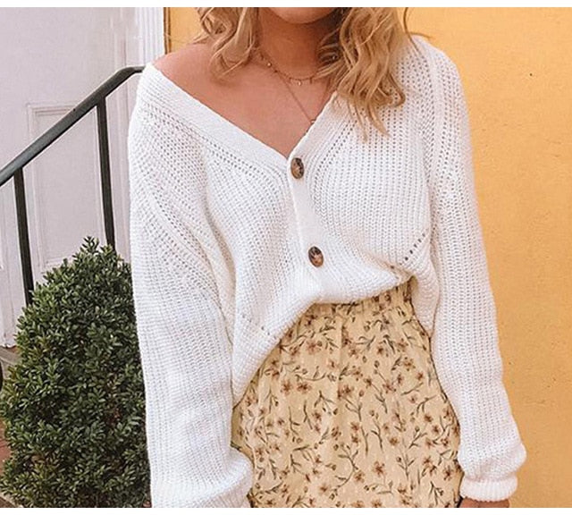 Sweater Long Sleeve Button Warm Cardigan Loose White V-neck