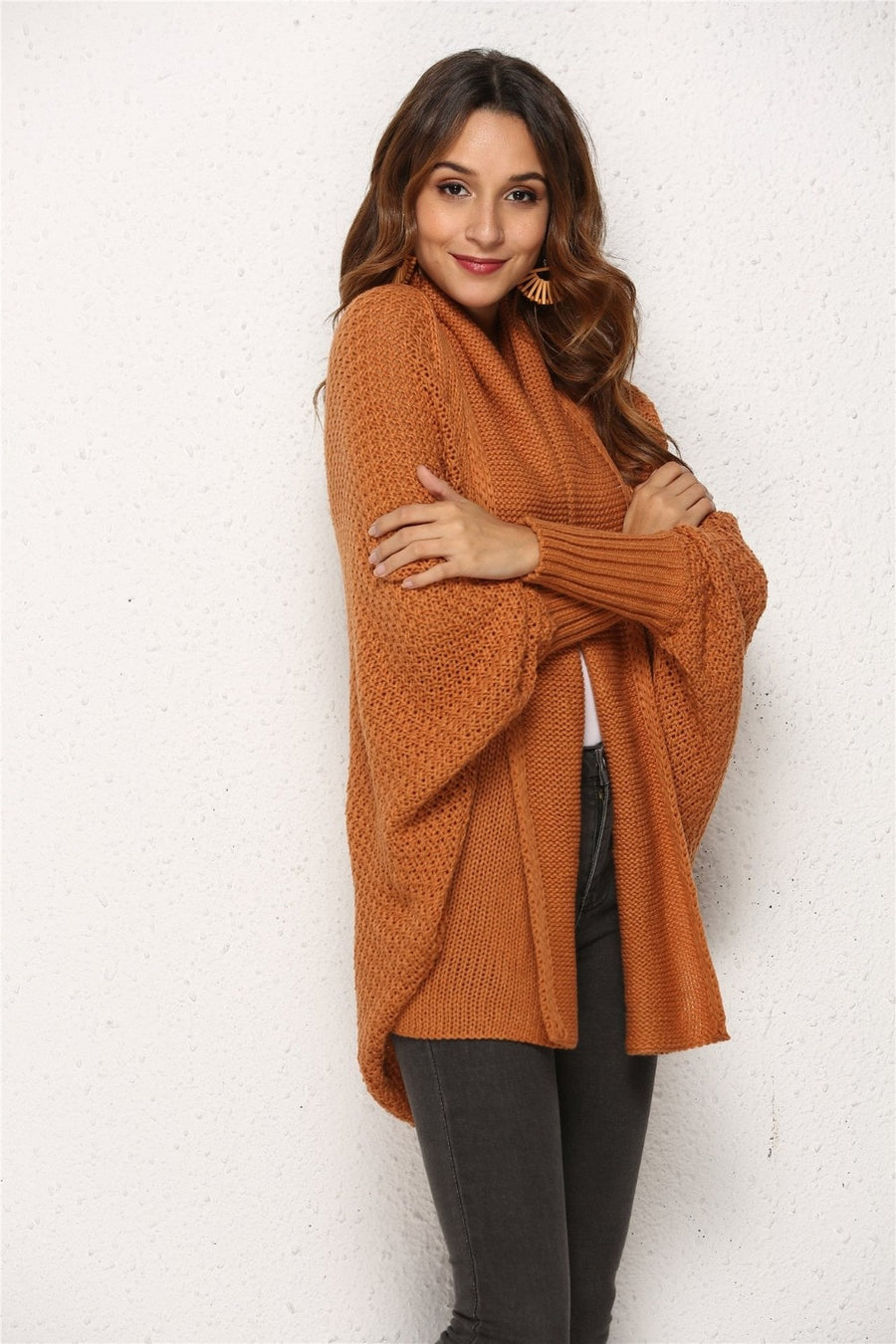 Long Sweater Sleeve Knit Batwing Sleeve Cardigan Ladies V Neck