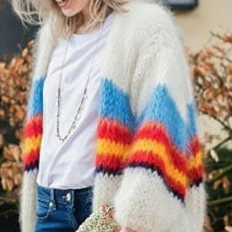Striped Mohair Knitted Cardigan  Sweaters Aurora