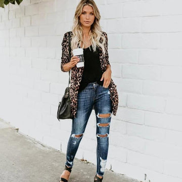 Casual Leopard Long Button Sleeve Open Print Front Cardigan