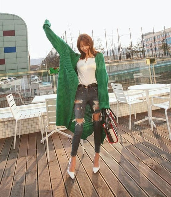 Long Sleeve Oversize Casual Warm Knitted Cardigan