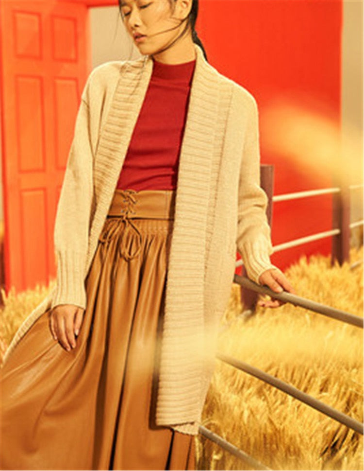 Hand made pure wool turn-down collar knit women brief solid H-straight long cardigan sweater