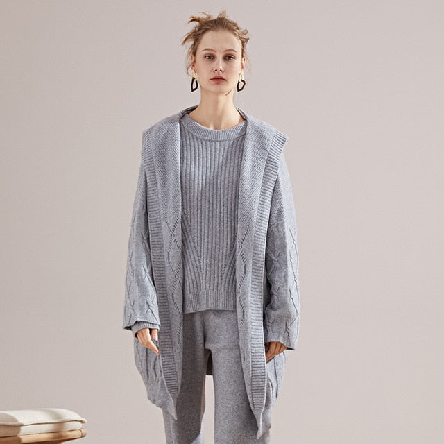 Cashmere hooded Long Cardigan loose Knitting sweater