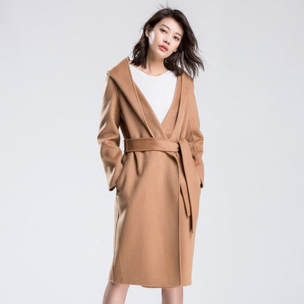Double-sided wool coat long-sleeved knitted cardigan