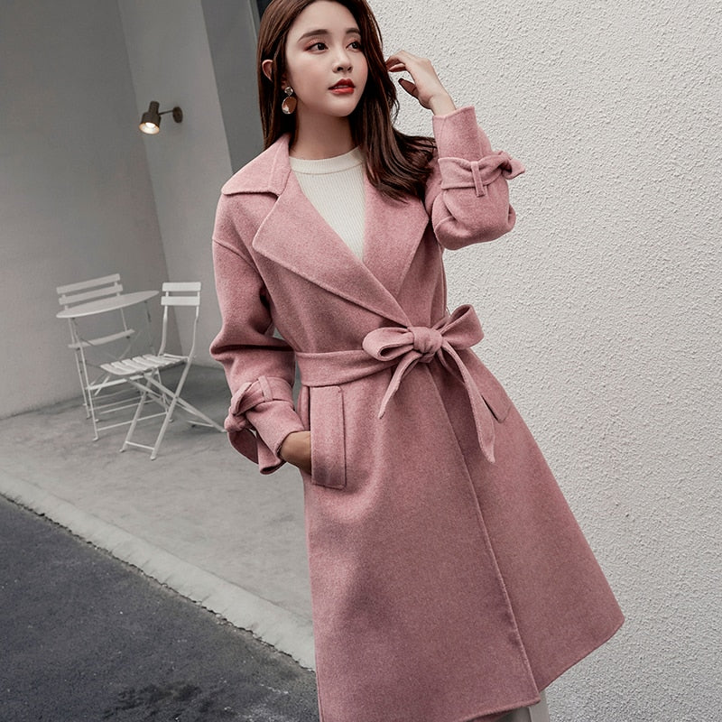 Cashmere woolen coat V-neck tie long wool fabric butterfly sleeve