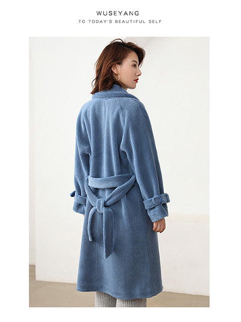 Long coat long-sleeved knit lace wool coat cardigan