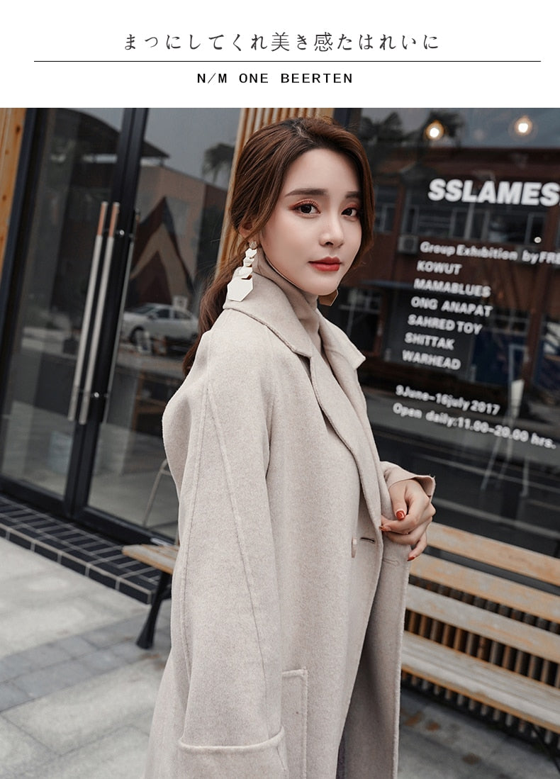Wool Coats ashmere Coat Winter Warm Two-Sided Loose Shoulder