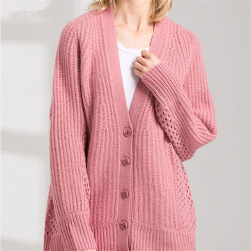 Goat cashmere hollow-out knit  V-Neck cardigan sweater