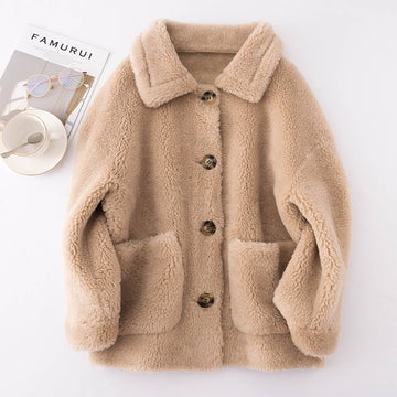 Short Wool Coat Long Sleeve Knit Soft Warm Cardigan