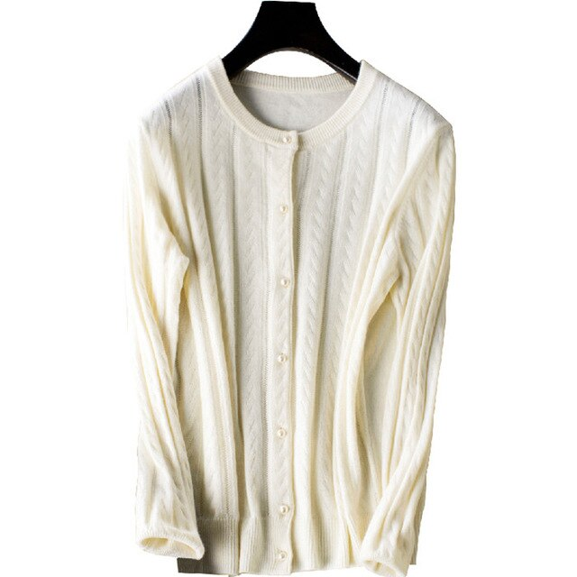Round neck pure cashmere knit cardigan