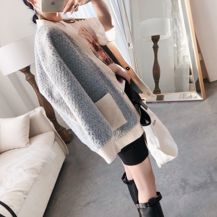 Real Wool Fur Jacket plus size V-ncek Long Knitted Cardigan Sweater