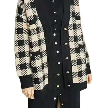 Checker V-Neck Knitted Cardigans  Coat Sweater