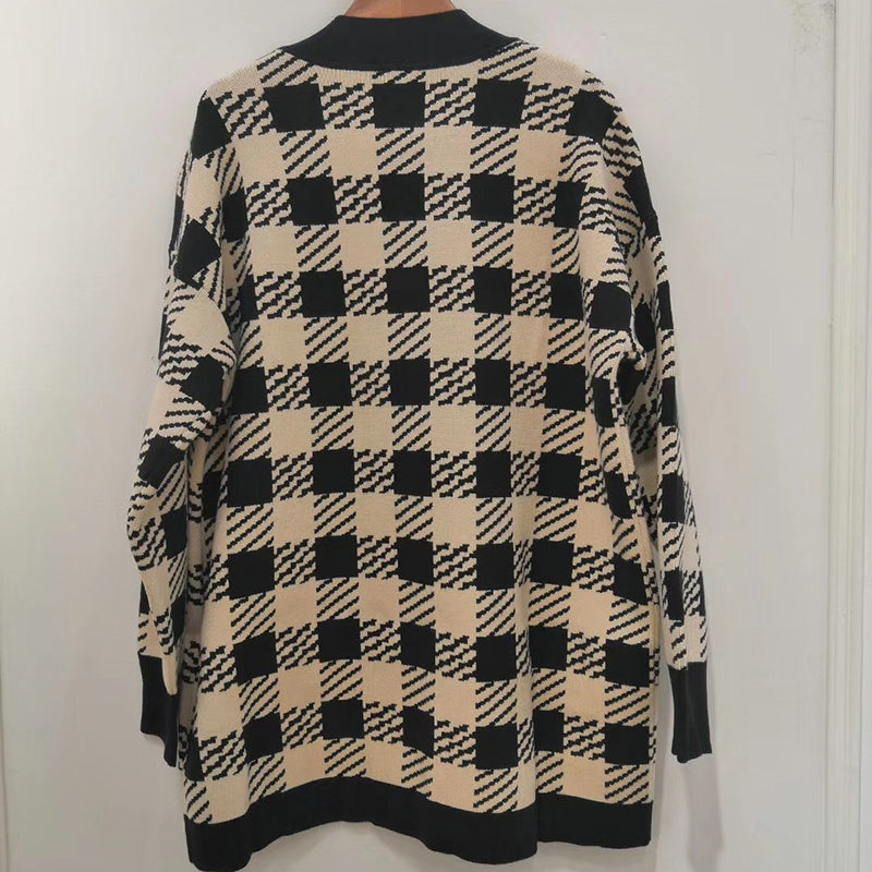 Checker V-Neck Knitted Cardigan  Coat Sweater