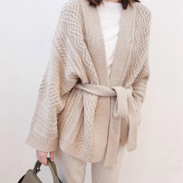 V-neck jacket cashmere sweater long-sleeved knit loose cardigan