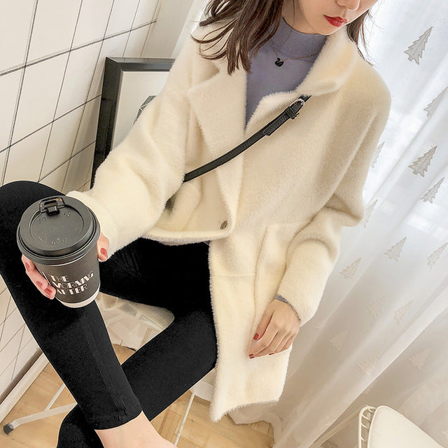 Lmitate Mink Loose Coat Woman Thickening Solid Color Plush Knitting Cardigan