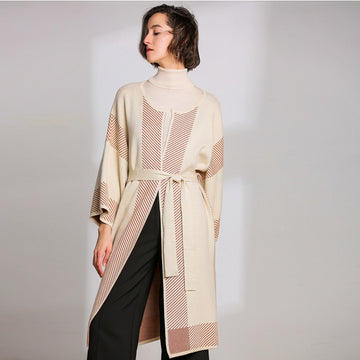 Coat Ladies Striped Patchwork Long Sleeve Knitted Long  Cardigan Jacket