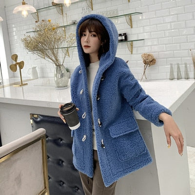 Hooded knit camel hair coat casual long-sleeved solid