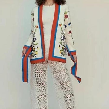 Vintage style V neck long sleeve heavy flower embroidery Cardigan Kimono