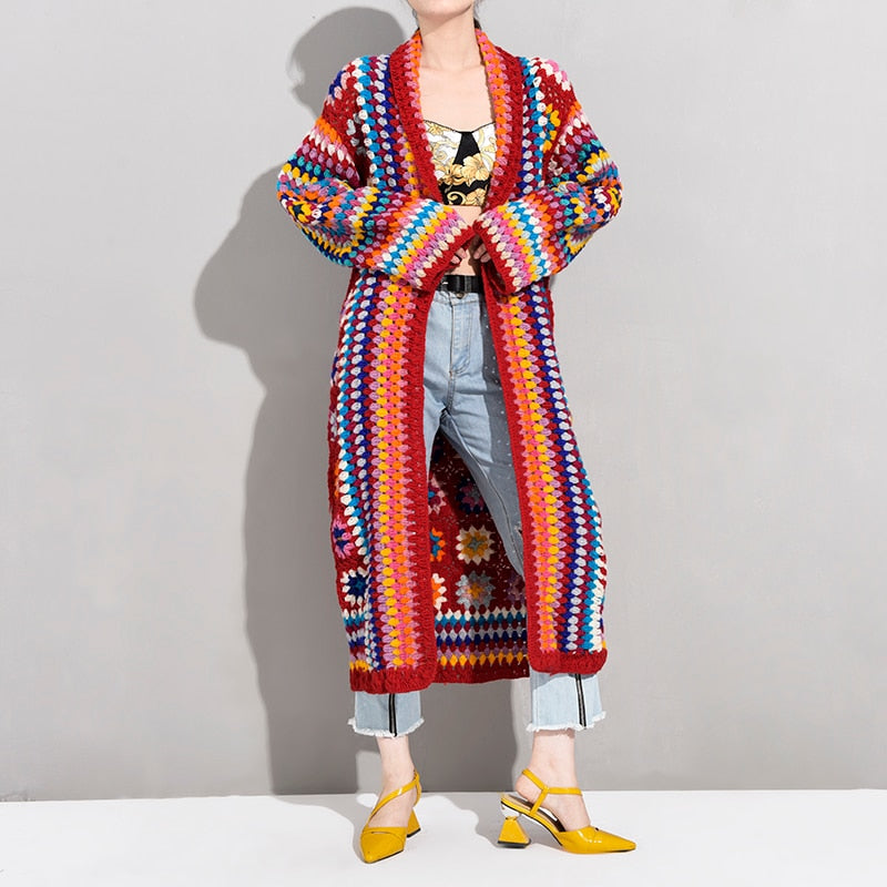 Turn-down Collar Full Sleeve Knits Autumn/  Winter Bohemian Gypsy Coat