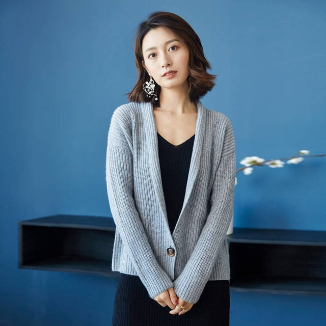 Cardigans Pure Goat Cashmere Knitwear  Single Button Sweater