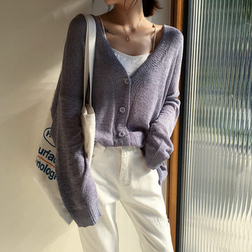 Purple Casual Sweater Solid Single Breasted Long Sleeve Knitted Cardigan