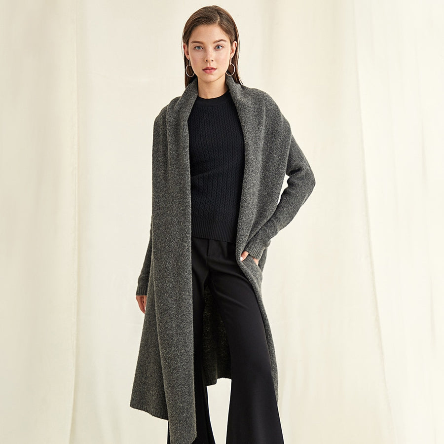 Coat Solid Long Cardigans Windcoat Turn-down Collar