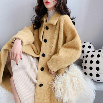 Velvet Fall Autumn coat jacket thick warm long sleeve loose