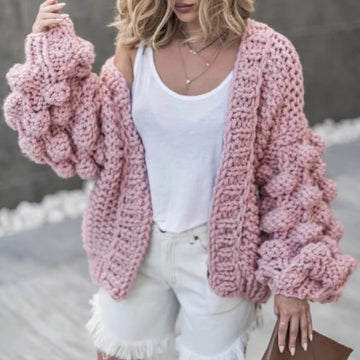 Hand Knitted Sweater Long Sleeve Cardigans Sweater Casual Warm