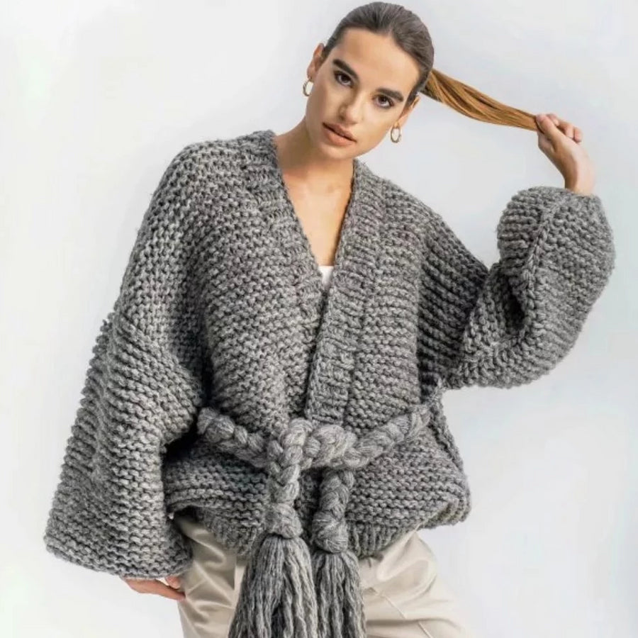 Hippie Boho Harajuku Lantern Sleeve Hand Knitted Loose Baggy Oversized Cardigan Sweater