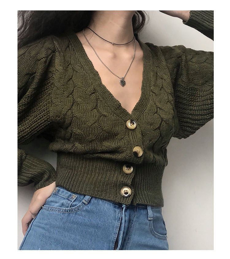 Vintage Deep V-neck Knit Cardigan High Waist Short Dark Green Lantern Sleeve Sweater Jacket