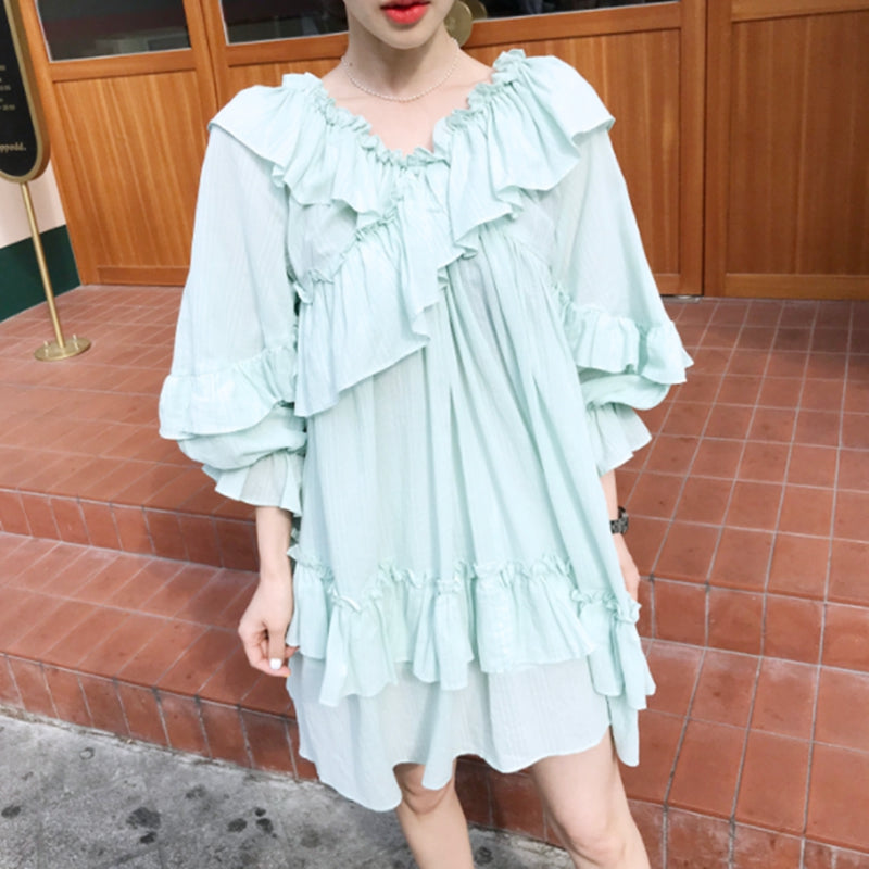 Fall Mini Dress Women Ruffles Long Sleeve Mesh Solid Loose Robe