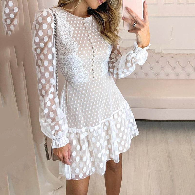 Dot Sheer Mesh Eyelash Lace Dress  Long Sleeve Ruffles Hem Dress