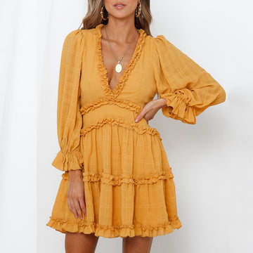 Boho Elegant Ruffles  Mini Dress Bohemian Sexy Halter V-neck long-sleeved