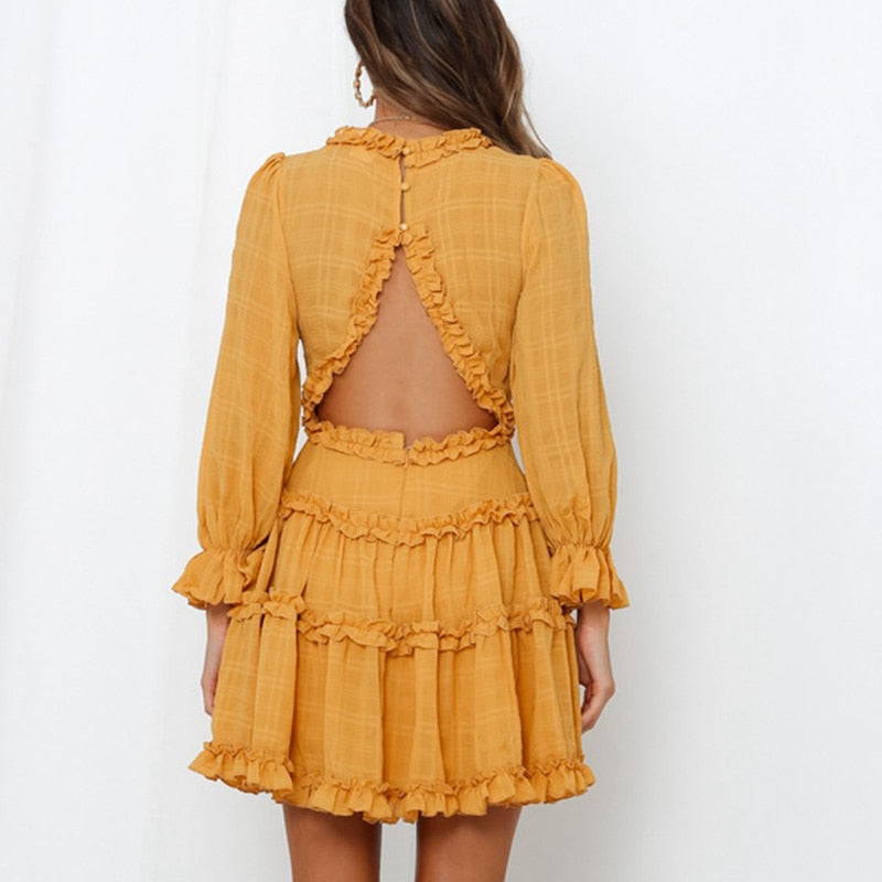 Bohemian Elegant Ruffles  Mini Dress  Halter V-neck long-sleeved